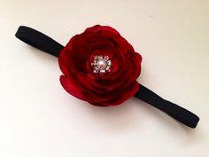 Red Flower Headband Christmas headband by MeghanandJulie on Etsy, $8.99