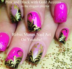 Nail Art Pink Black & Gold Damask