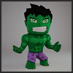 This papercraft is a chibi Hulk, a superhero from the the Marvel Comics' comic book Avengers, the paper model is created by PaperWar. About this paper mode 3d Paper Crafts, Paper Toys, Diy Paper, Paper Art, Diy And Crafts, Arts And Crafts, Chibi, Low Poly, Papercraft Pokemon