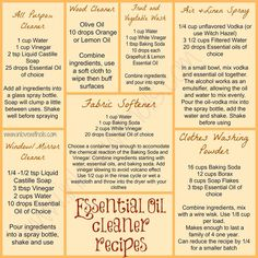 Essential Oil Cleaner Recipes