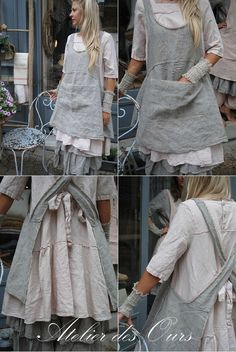 57 Creative Casual Style Outfits To Look Cool And Fashionable - Global Outfit Experts Sewing Aprons, Sewing Clothes, Estilo Hippie, Linen Apron, Aprons Vintage, Retro Apron, Vintage Table, Apron Dress, Diy Clothing