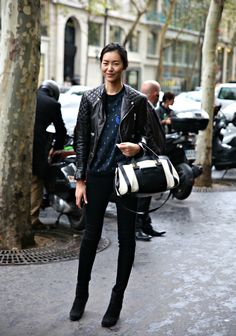 Model Street Style: Liu Wens Relaxed Biker Jacket | The Front Row View