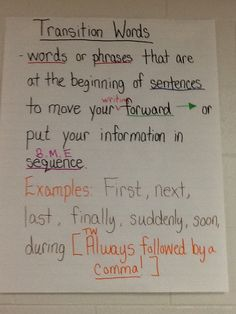 Transition Words Anchor Chart - 4th Grade FLC 13/14