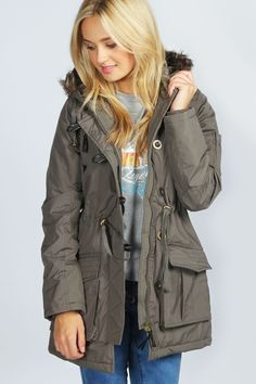 Lucy Padded Parka With Fur Trim Hood at boohoo.com