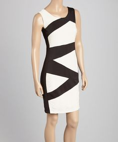 Another great find on #zulily! Ivory & Black Banded Bodycon Sheath by En Focus Studio #zulilyfinds