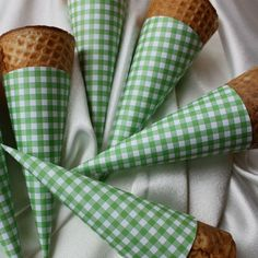 party cones wrapped in gingham paper