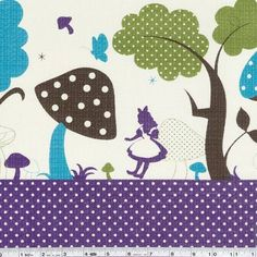 A surreal landscape of trees and mushrooms surround Alice in Wonderland in this fun border print. This print is railroaded. This quilting weight Japanese fabric is 43/44