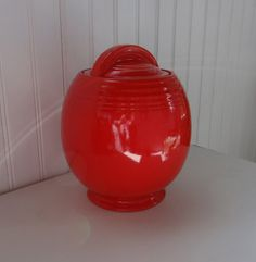 Hall China Chinese Red 5 Band Cookie Jar