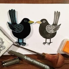 Hand carved black bird stamp | Annukka Palmén Stamp Printing, Bird Feathers, Painting & Drawing, Printmaking, Hand Carved, Stamping, Rooster, Stencils, My Arts