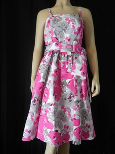 ADRIANNA PAPELL Sundress Sz 14  floral multi color strapless sash NEW NWT