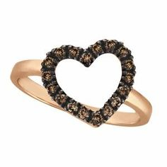 $488.00 Eighteen champagne diamonds are beautifully set in a sparkling 14k rose gold (pink gold) prong setting.  The chocolate cognac diamonds on the rose gold (pink gold) make this ring unlike any other. Also available with other stones in all gold colors.