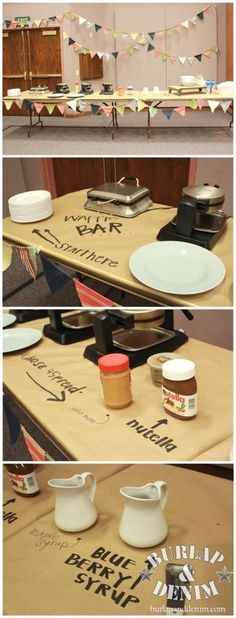 Waffle Bar Styling // use Kraft paper as your table cloth, easy clean up & fun way to label food on buffet, food bars, etc. #appetizer #party #foodbar