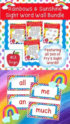 This bundle features all 300 of Fry's sight words! 183 pages of rainbow themed word wall posters to brighten your classroom! My Rainbows and Sunshine Sight Word Wall Bundle includes: All 300 Fry sight words Coordinating word wall letter headers #teacherspayteachers #tpt #sightwords