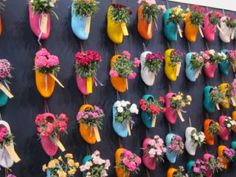 Garden & Landscaping, Appealing Small Space Gardens Design Ideas For Small Space In The House Use Colourful Wooden Shoes On The Wall: Design A Small Place To Grow A Variety Of Plants That Easily Treated