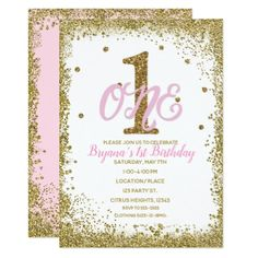 Pink & Gold Girls ONE Birthday Party Card - chic design idea diy elegant beautiful stylish modern exclusive trendy Invitation Card Party, 1st Birthday Party Invitations, 1st Birthday Parties, Birthday Cards, Birthday Gifts, Girls First Birthday Theme Ideas, Pink Birthday, Girl First Birthday, Gold Girl