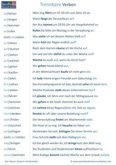 Trennbare Verben Liste French Lessons, Spanish Lessons, Teaching Spanish, German Grammar, German Words, Dativ Deutsch, Truth Or Dare Jenga, Reflexive Verben, German Resources