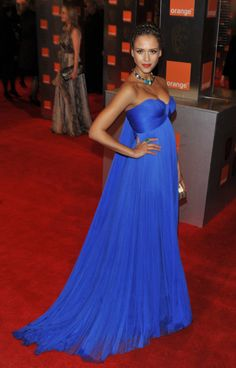 Jessica Alba in a blue Versace gown