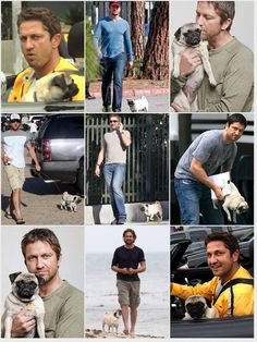 Gerald Butler and his pug.