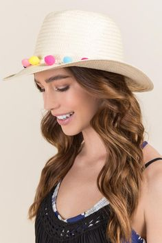 Mila Pom Pom Straw Hat- Natural model Natural Models cdd2f4c4c5e