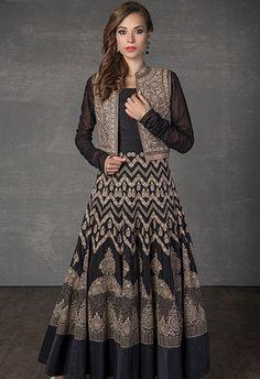 Cotton kurta churidar embellished with resham embroidery