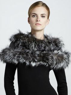 0f5c673a384 Fox Fur-Trim Cashmere Cape by Gucci at Neiman Marcus.