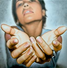 Victor Rodriguez (b. acrylic on canvas {contemporary realism art female reaching hands woman palms foreshortening painting Ap Drawing, Life Drawing, Figure Drawing, Anatomy Drawing, Drawing Faces, Drawing Tips, Photo Main, Tattoo Week, Manos Tattoo