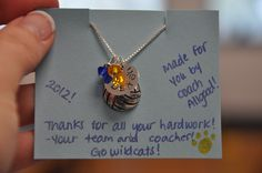Senior Gift- Initial Stamp Necklace - School colors and name with charm of the sport they played!  $25 (Discounts on Multiple)  Order at www.facebook.com/aaallgoodcrafts
