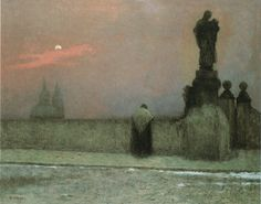 """What a beam of ineffable light, What a soul-thrilling, heart-cheering ray Disperses the gloom of the night, And turns all your darkness to day."" George Heath - Light in the Darkness fragment. Jakub Schikaneder - Evening in Hradcany. Nocturne, Prague, Jakub Schikaneder, Europe Centrale, Drawing People, Artist Art, Dark Art, Painting & Drawing, Art Sketches"