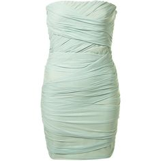 Ruched Bandeau Dress ($80) ❤ liked on Polyvore featuring dresses, vestidos, short dresses, vestiti, last chance to buy, view all, green bodycon dress, mini dress, bodycon dress and ruched bodycon dress