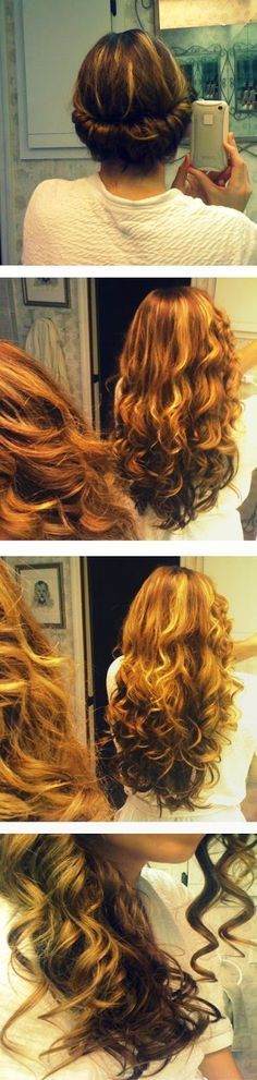 Upward Twirled No Heat Curls | This is adorable but doesn't work for me at all!  AND I have naturally wavy hair that WANTS to be curly!  Still, doesn't work...but worth a try girls!