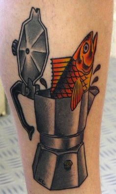 """""""FELLAS, DON'T DRINK THAT COFFE! You'd never believe it: There was a fish... *IN*... the percolater!"""" 