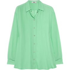 Acne Shining crepe shirt (7.785 RUB) ❤ liked on Polyvore featuring tops, blouses, shirts, blusas, green top, mint shirt, polish shirts, mint blouse and loose blouse