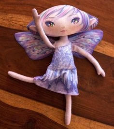 Opal Printed Fabric Fairy Doll Pattern DIY by selinafenech
