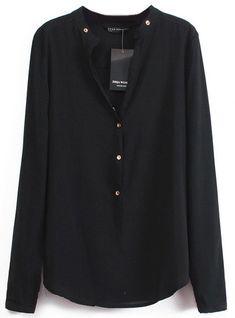 Black V Neck Long Sleeve Buttons Blouse -SheIn(Sheinside) Mobile Site