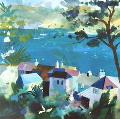 St Mawes Estuary Silkscreen Print by Richard Tuff Watercolor Landscape, Abstract Landscape, Landscape Paintings, Watercolor Art, English Artists, Commercial Art, Coastal Art, Naive Art, Photo Art