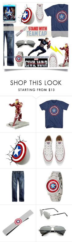 """Captain America: Civil War"" by mrsjillc ❤ liked on Polyvore featuring WALL, Converse, Lucky Brand, Disney, Cufflinks, Inc., Montblanc, men's fashion, menswear, contestentry and CaptainAmericaCivilWar"