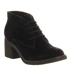 Office Keeper Lace Up Black Suede Fur Lined - Ankle Boots