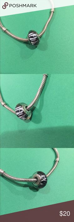 Pandora Murano Glass Bead Zebra Print All my Pandora is authentic. EUC, let me know if you have any questions and check out my other items! Bracelet sold separately. Pandora Jewelry Bracelets