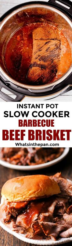 This Slow Cooker Barbecue Beef Brisket is made using the instant pot's slow cooker mode with the most amazingly flavorful Barbecue sauce, made completely from scratch. One of the easiest meals you'll ever make! And minimal clean-up! Detailed instructions on which buttons to push on your Instant Pot and on how to slice a brisket in a proper way are included.