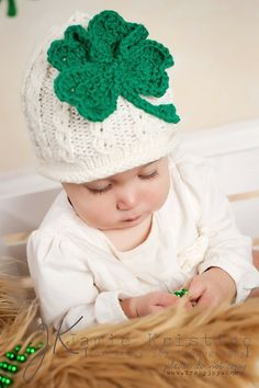 Baby St Patricks Day Shamrock MockCable Hat by HandcraftLoribelle