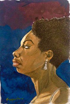Nina Simone.  nanquim sobre papel 15 x 10