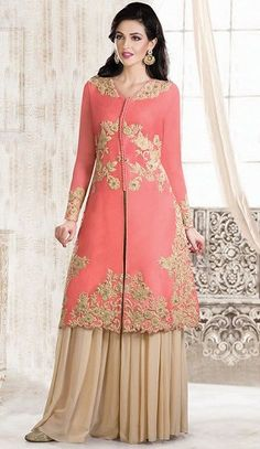 Make understated elegance your signature style as you wear this beige and tomato shade cotton silk gown. The butta, floral patch, moti, patch, resham and sequins work appears chic and best for any celebration. Designer Gowns, Indian Designer Wear, Pakistani Outfits, Indian Outfits, Casual Summer Dresses, Casual Wear, Desi Clothes, Silk Gown, Indian Dresses