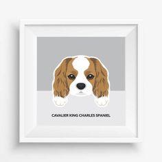Cavalier King Charles Spaniel Puppy ,Cute Dog Print,Puppy,Puppy watercolor,Pet Decor,digital Prints,instant Download,home decor,nursery art