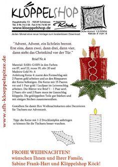Klöppelshop minták 2 Advent, Bobbin Lacemaking, Bobbin Lace Patterns, Lace Heart, Lace Jewelry, Tatting Lace, Needle Lace, All Craft, Lace Making
