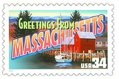 The Massachusetts State Postage Stamp  Depicted above is the Massachusetts state 34 cent stamp from the Greetings From America commemorative stamp series. The United States Postal Service released this stamp on April 4, 2002. The retro design of this stamp resembles the large letter postcards that were popular with tourists in the 1930's and 1940's.