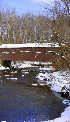 Snow covered bridge on the Harford County .. Baltimore County Line in Kingsville, Maryland