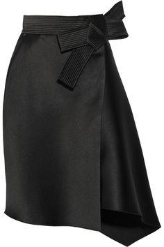 Lanvin Duchesse Satin Bow Skirt in Black   Lyst