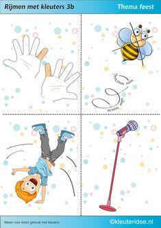 Rijmen met kleuters 3b, thema feest, juf Petra van kleuteridee, te gebruiken bij kinderboekenweek 2014, free printable.