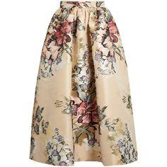 Fendi Floral fil coupé midi skirt (4.405 BRL) ❤ liked on Polyvore featuring skirts, bottoms, юбки, beige multi, floral print skirt, straight skirt, floral printed skirt, floral knee length skirt and midi skirt