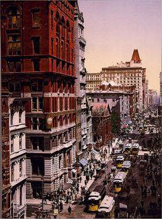 Ingekleurde foto's van New York uit 1900